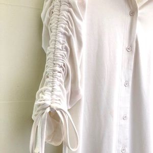 White Jersey Misguided Ruched Sleeve Dress